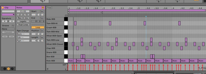 4-on-the-flour ritme in Ableton Live